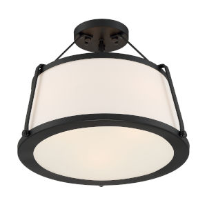 Cutty Matte Black Three-Light Semi-Flush Mount