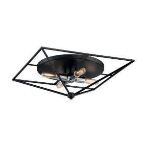 Legend Black and Polished Nickel 22-Inch Four-Light Flush Mount