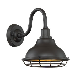Newbridge Dark Bronze and Gold 10-Inch One-Light Outdoor Wall Mount