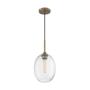 Aria Burnished Brass 17-Inch One-Light Pendant with Clear Seeded Glass