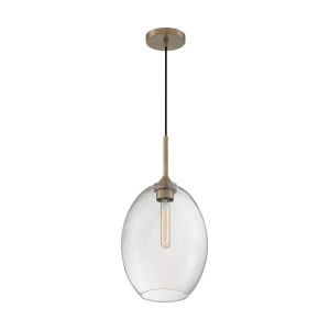 Aria Burnished Brass 19-Inch One-Light Pendant with Clear Seeded Glass