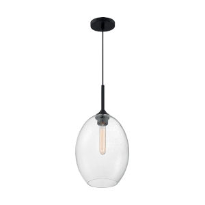 Aria Matte Black 19-Inch One-Light Pendant with Clear Seeded Glass