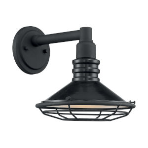 Blue Harbor Gloss Black and Silver 10-Inch One-Light Outdoor Wall Mount