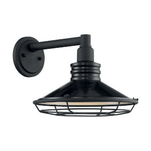 Blue Harbor Gloss Black and Silver 12-Inch One-Light Outdoor Wall Mount