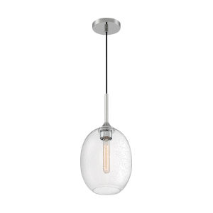 Aria Polished Nickel 17-Inch One-Light Pendant with Clear Seeded Glass