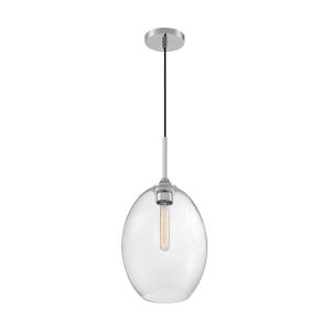 Aria Polished Nickel 19-Inch One-Light Pendant with Clear Seeded Glass