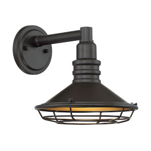 Blue Harbor Dark Bronze and Gold 10-Inch One-Light Outdoor Wall Mount