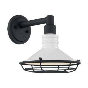 Blue Harbor Gloss White and Textured Black 10-Inch One-Light Outdoor Wall Mount