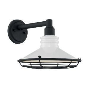 Blue Harbor Gloss White and Textured Black 12-Inch One-Light Outdoor Wall Mount