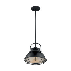 Upton Gloss Black and Silver 12-Inch One-Light Pendant