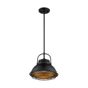 Upton Dark Bronze and Gold 12-Inch One-Light Pendant