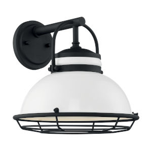 Upton Gloss White and Textured Black 12-Inch One-Light Outdoor Wall Mount