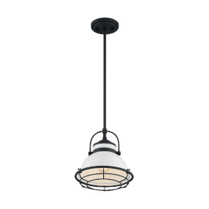 Upton Gloss White and Black 10-Inch One-Light Pendant
