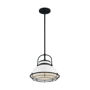 Upton Gloss White and Black 12-Inch One-Light Pendant