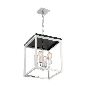 Cakewalk Polished Nickel and Black Four-Light Pendant
