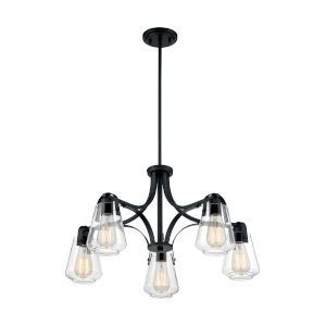 Skybridge Matte Black Five-Light Chandelier