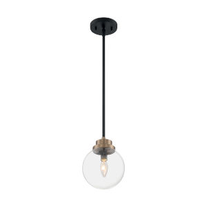 Axis Matte Black and Brass One-Light Pendant