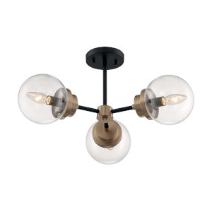Axis Matte Black and Brass Three-Light Semi-Flush Mount