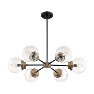 Axis Matte Black and Brass Six-Light Chandelier