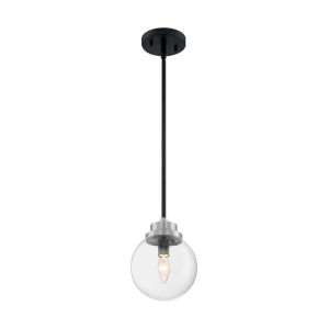 Axis Matte Black and Brushed Nickel One-Light Pendant