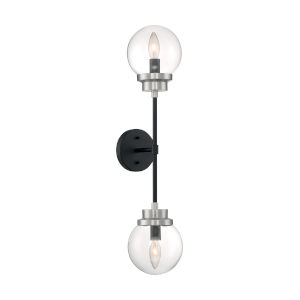 Axis Matte Black and Brushed Nickel Two-Light Wall Sconce