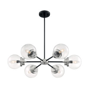 Axis Matte Black and Brushed Nickel Six-Light Chandelier