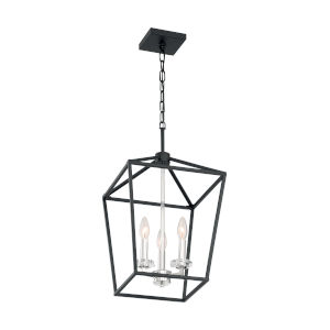 Storyteller Matte Black and Polished Nickel Three-Light Pendant