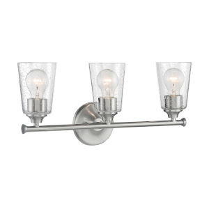 Bransel Brushed Nickel Three-Light Bath Vanity with Clear Seeded Glass