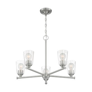 Bransel Brushed Nickel Five-Light Chandelier with Clear Seeded Glass