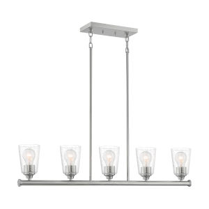 Bransel Brushed Nickel Five-Light Pendant with Clear Seeded Glass