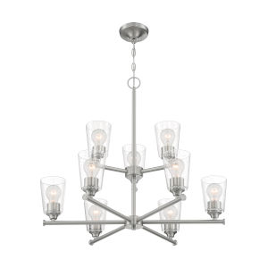 Bransel Brushed Nickel Nine-Light Chandelier with Clear Seeded Glass