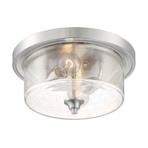 Bransel Brushed Nickel Two-Light Flush Mount with Clear Seeded Glass
