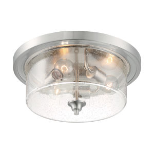 Bransel Brushed Nickel Three-Light Flush Mount with Clear Seeded Glass