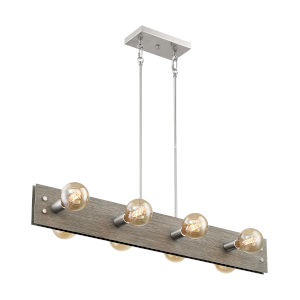 Stella Driftwood and Brushed Nickel Eight-Light Pendant