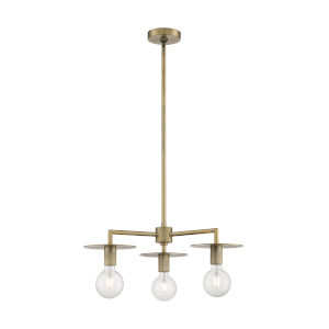 Bizet Vintage Brass Three-Light Chandelier