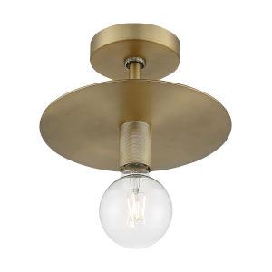 Bizet Vintage Brass One-Light Semi-Flush Mount