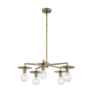 Bizet Vintage Brass Five-Light Chandelier