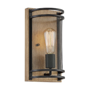 Atelier Black and Honey Wood One-Light Wall Sconce