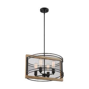 Atelier Black and Honey Wood Four-Light Pendant