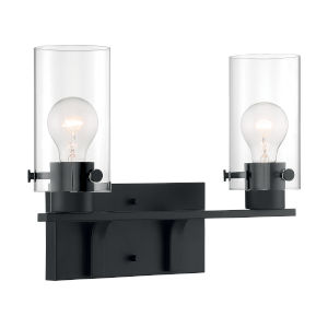 Sommerset Matte Black Two-Light Bath Vanity