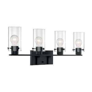Sommerset Matte Black Four-Light Bath Vanity