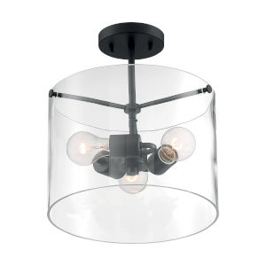 Sommerset Matte Black Three-Light Semi-Flush Mount