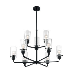Sommerset Matte Black Nine-Light Chandelier
