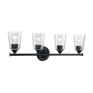 Bransel Matte Black Four-Light Bath Vanity with Clear Seeded Glass
