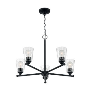 Bransel Matte Black Five-Light Chandelier with Clear Seeded Glass