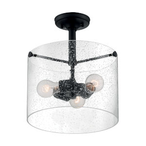 Bransel Matte Black Three-Light Semi-Flush Mount with Clear Seeded Glass