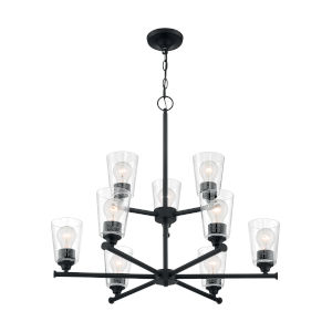 Bransel Matte Black Nine-Light Chandelier with Clear Seeded Glass