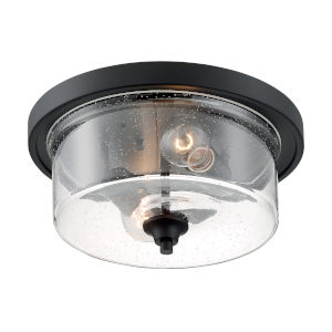 Bransel Matte Black Two-Light Flush Mount with Clear Seeded Glass