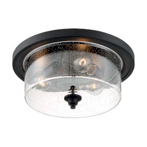 Bransel Matte Black Three-Light Flush Mount with Clear Seeded Glass