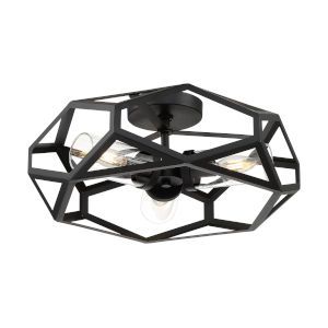 Zemi Black Three-Light Flush Mount